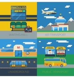 Passenger Transportation 2x2 Design Concept vector