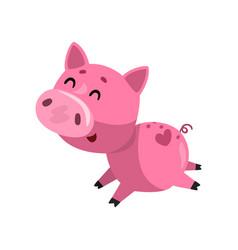 pink funny smiling cartoon pig running cute vector image