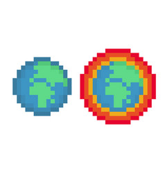 pixel earth and global warming pack - isolated vector image