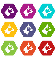 pug dog icon set color hexahedron vector image