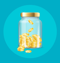 realistic 3d detailed money in jar vector image