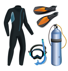 Realistic snorkeling and scuba diving set of vector