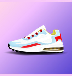 Realistic sport running shoe for training and vector