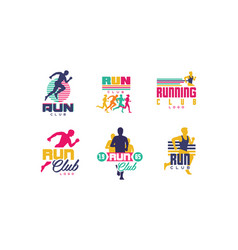 run sport club logo templates collection vector image
