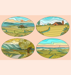 rural landscapes stickers set farm field and vector image