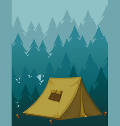 scene background with tent in dark forest vector image
