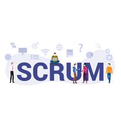 Scrum workflow methodology concept with big word vector