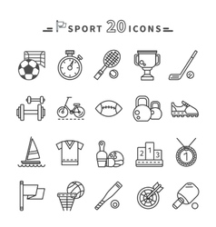 Set of Black Icons Sport Equipment on White vector image