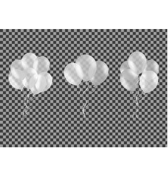 set of bunches of white helium balloons isolated vector image