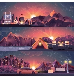 set of night landscape mountains vector image