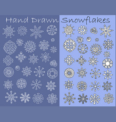 set with hand drawn line art white snowflakes vector image