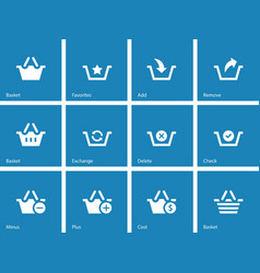 Shopping Basket icons on blue background vector