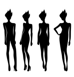 Silhouette of women in different poses vector