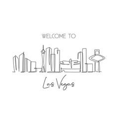 single continuous line drawing las vegas city vector image