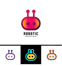 smart robot logo template cute logotype isolated vector image