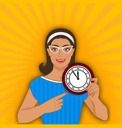 smiling girl points at clock vector image