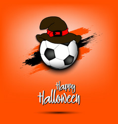 Soccer ball with witch hat and happy hallowen vector