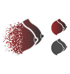 Sparkle pixelated halftone female tits icon vector