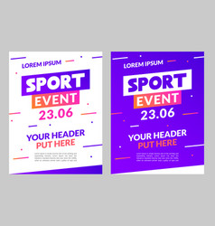 sport flyer design banner poster event vector image
