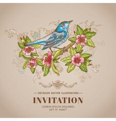 Spring Bird -Vintage Card - hand-drawn vector