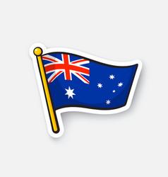 Sticker flag australia on flagstaff vector