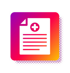 White medical clipboard with clinical record icon vector