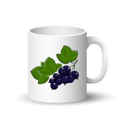 White mug with blackcurrant vector