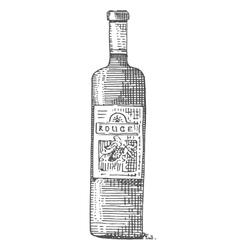 Wine bottle hand drawn engraved old looking vector