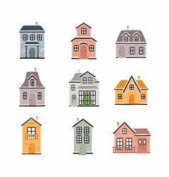 winter houses collection cottages set christmas vector image