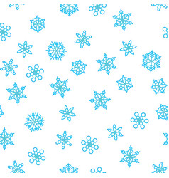 winter pattern snowfall and blue snowflakes on vector image