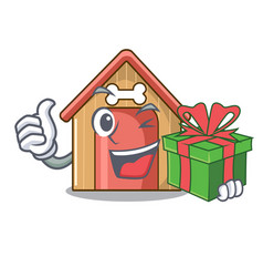 with gift dog house isolated on mascot cartoon vector image
