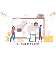 Woman partner cooperation via software service vector