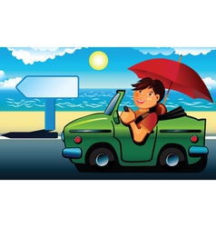 Young man going to beach cabriolet vector