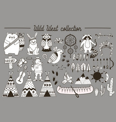 boho collection with wild west design elements vector image