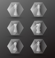 Glass Chess Piece Icons vector image vector image