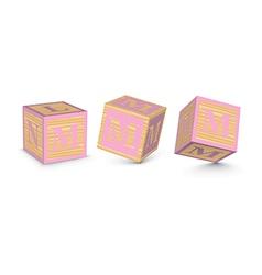 Letter m wooden alphabet blocks vector