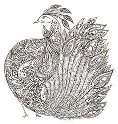 peacock vintage fantasy bird with ornament vector image vector image