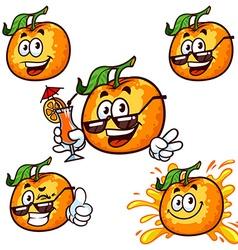 set cartoon character - Happy orange vector image vector image