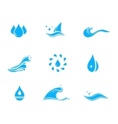 set icon with drop and wave vector image vector image