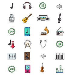 Color music icons set vector image