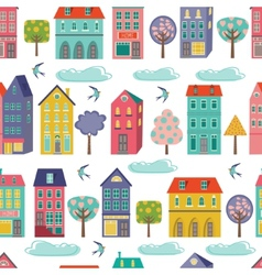 Cute city seamless background vector image