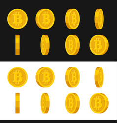 gold rotate bitcoin frames set for animation on vector image vector image