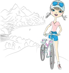 hipster girl tourist with bicycle vector image vector image