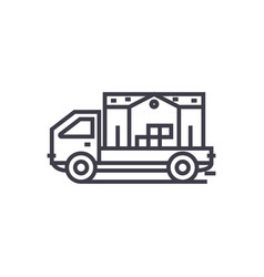 moving house truck concept thin line icon vector image