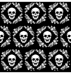 Skull in the frame of roses vector image