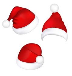 Three Santa Hats vector image