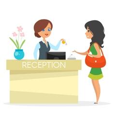 cartoon style of hotel reception vector image vector image