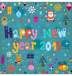 Happy New year 2015 retro greeting card vector image vector image