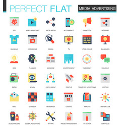 set of flat media advertising icons vector image vector image