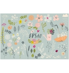 set with cute floral elements vector image